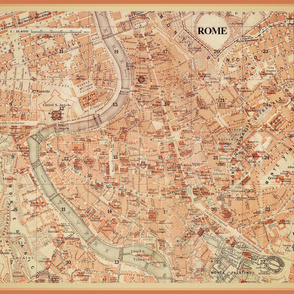 Rome, Italy map - vintage, large