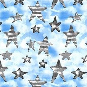 19-10v USA Black White Stars Blue Clouds