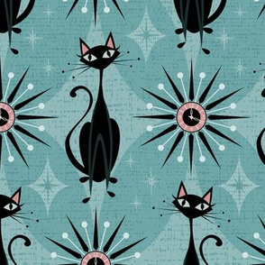 Mid Century Cats and Clocks on Blue