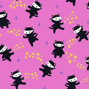 Ninja Cats on Pink Background - bigger