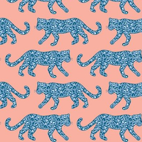 Kitty Parade - Blue on Coral Pink - Medium Scale