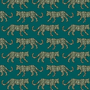 Kitty Parade - Olive on Teal - Small Scale