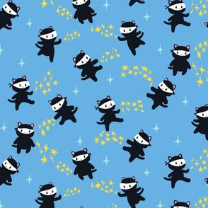 Ninja Cats on Light Blue Background - Smaller