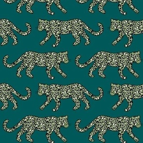 Kitty Parade - Olive on Teal - Medium Scale