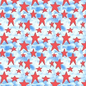 19-10t USA Red Stars Blue Clouds Patriot 4th of July Independence