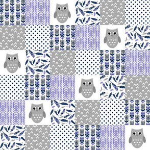 Navy Purple Grey Owl Patchwork
