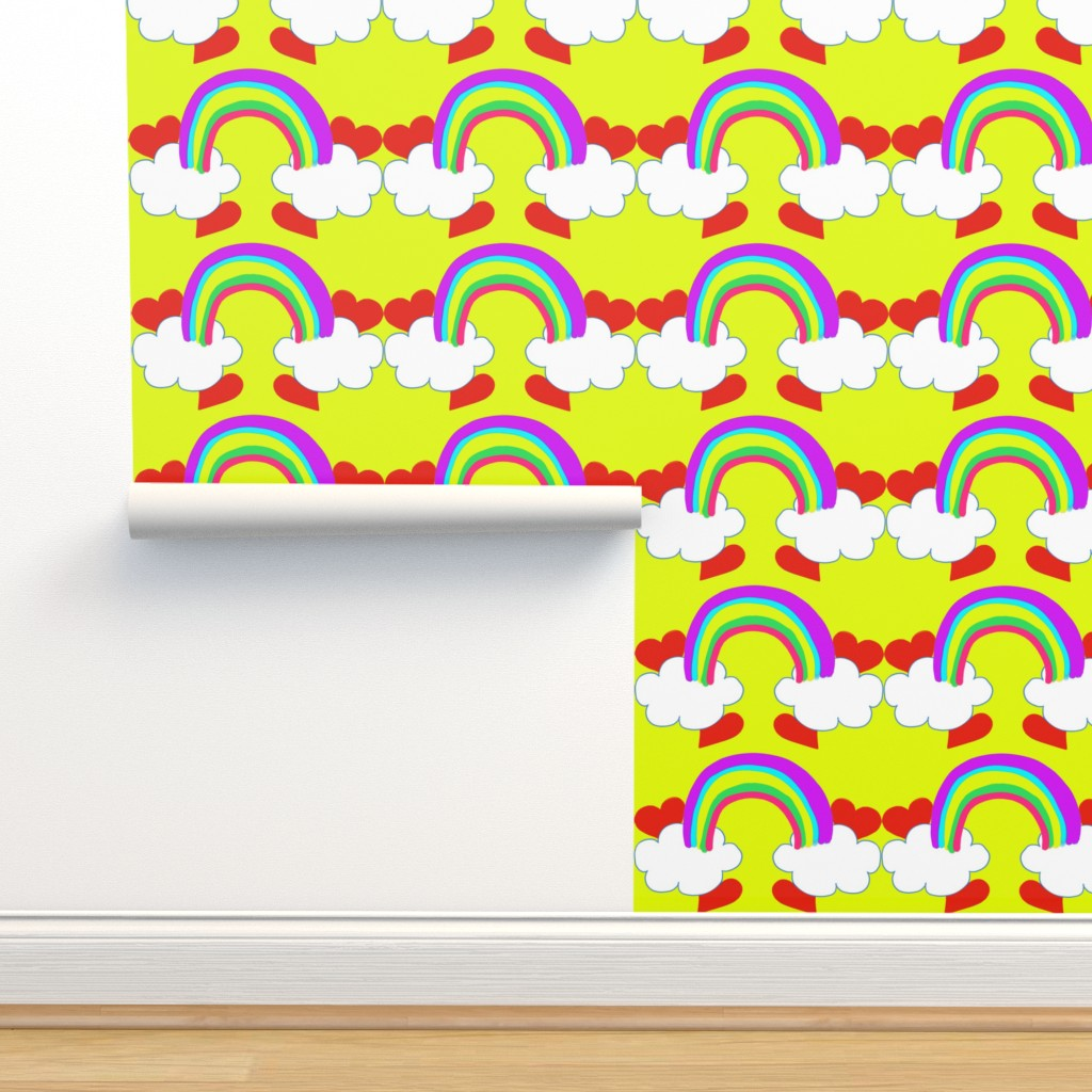 Isobar Durable Wallpaper featuring Pastel Rainbow Bridge On Yellow with Red Love Hearts and White Clouds by paper_and_frill