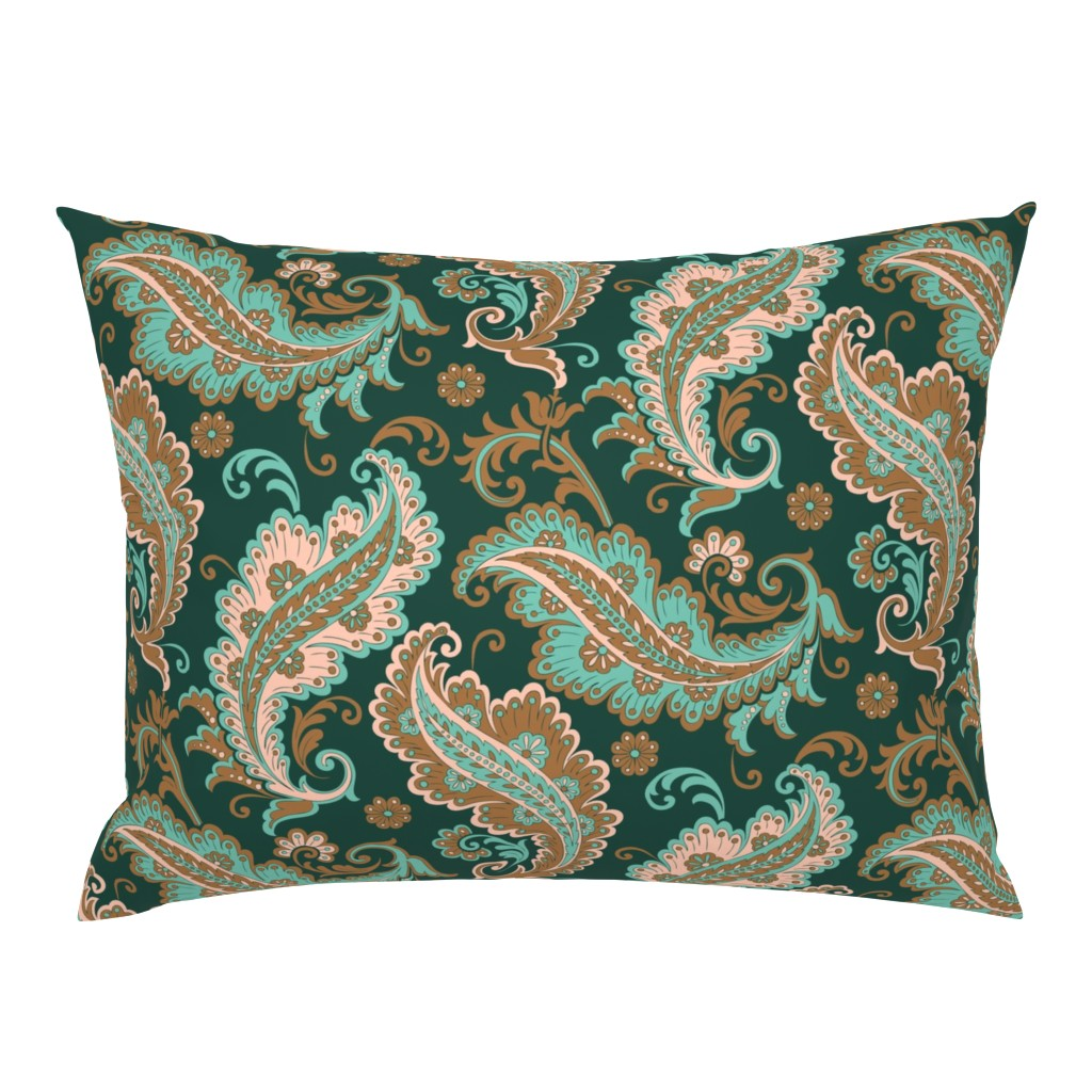 Campine Pillow Sham featuring Paisley Pattern by emikundesigns