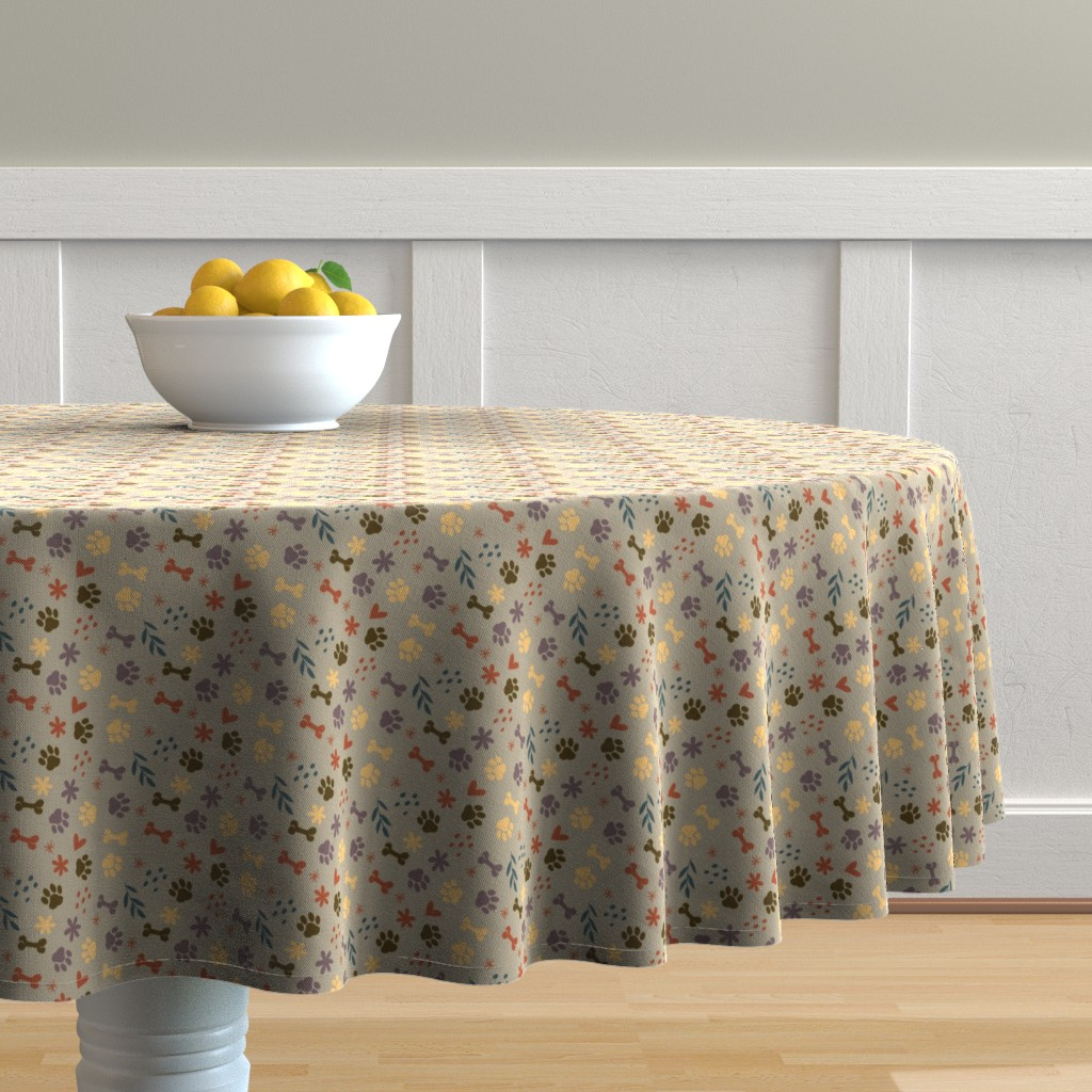 Malay Round Tablecloth featuring Good Dog (Muted Colors) by earthatelierdesigns