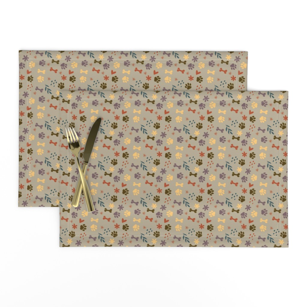 Lamona Cloth Placemats featuring Good Dog (Muted Colors) by earthatelierdesigns