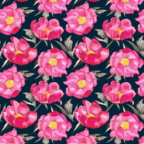 19-10s Hot Pink Peony Floral Navy Midnight Spring