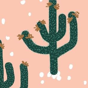 Flowering Spiky Cactus on Rosé