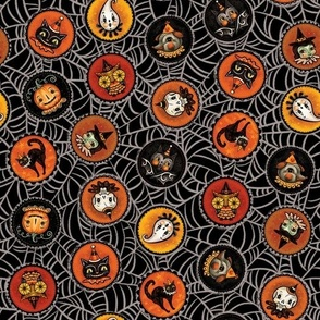 Halloween Saucers on Webs Black small