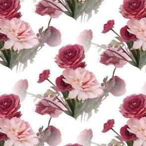 Pastel Flowers on White