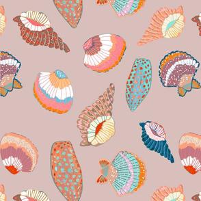 Summer seaside shells on taupe