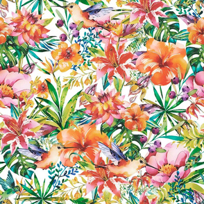Tropical Watercolor Flower And Bird Pattern