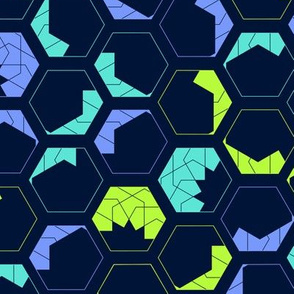 Geometrical hexagon cubes, filled with shapes