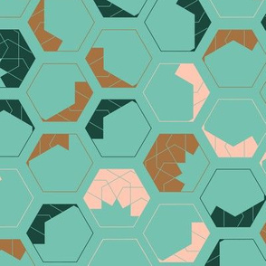 Geometrical hexagon shapes in modern, soft color palette
