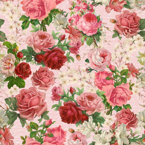 Nostalgic Vintage Roses Allover Pattern