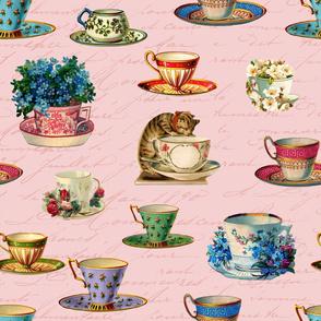 Vintage Tea And Cat Pattern