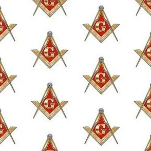 "Large 2"" Red Lodge Masonic Square Compass Red Gold White"