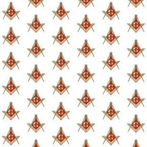 "Med. 1"" Red Lodge Masonic Square Compass Red Gold White"