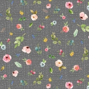 Woodland Flowers on Dark Gray - Pink Peach Blush Blue Floral