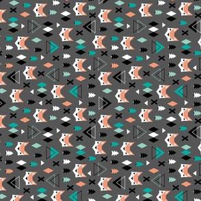 Geometric fox and pine tree illustration pattern XS rotated