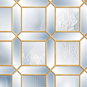 Art Deco Glass Partition (Gold/Blue)
