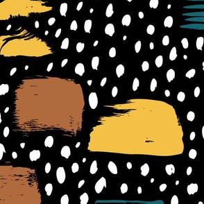 Strokes dots cross and spots raw abstract brush strokes memphis scandinavian style multi color autumn ochre