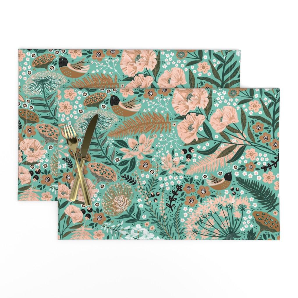 Lamona Cloth Placemats featuring Botanical Blush by honoluludesign