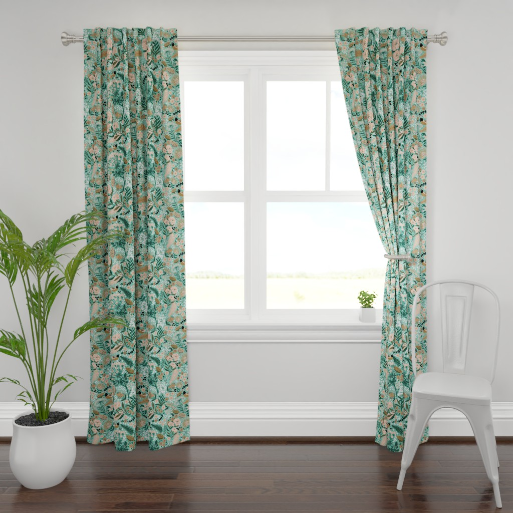 Plymouth Curtain Panel featuring Botanical Blush by honoluludesign
