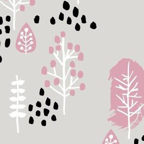 Small twigs and autumn leaves Scandinavian fall rain winter garden mauve beige JUMBO