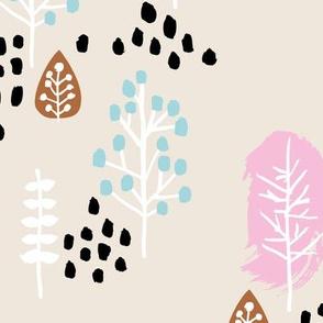 Small twigs and autumn leaves Scandinavian fall rain winter garden pink blue JUMBO