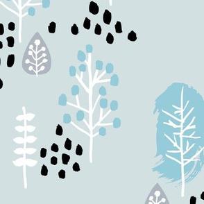 Small twigs and autumn leaves Scandinavian fall rain winter garden baby blue JUMBO