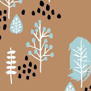 Small twigs and autumn leaves Scandinavian fall rain winter garden cinnamon blue JUMBO