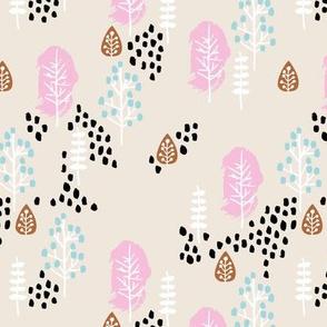 Small twigs and autumn leaves Scandinavian fall rain winter garden pink blue girls
