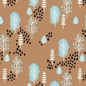 Small twigs and autumn leaves Scandinavian fall rain winter garden cinnamon blue