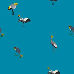Painted Cranes on Blue