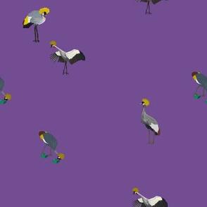 Painted Cranes on Purple