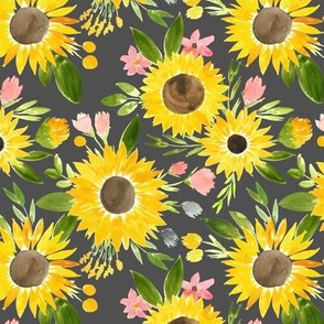 Sweet Sunflower Fields on Charcoal