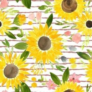 Sunflower Stripes Dusty Rose