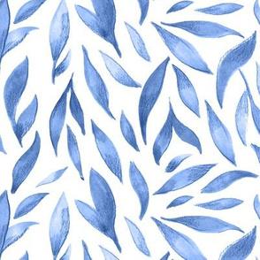 Watercolor Leaves - Blue