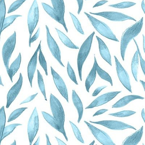 Watercolor Leaves - Blue Gray