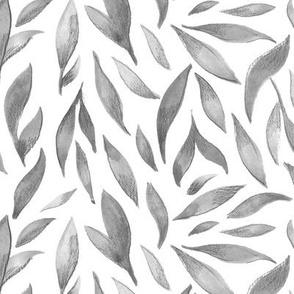 Watercolor Leaves- Gray