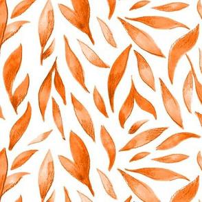 Watercolor Leaves - Orange