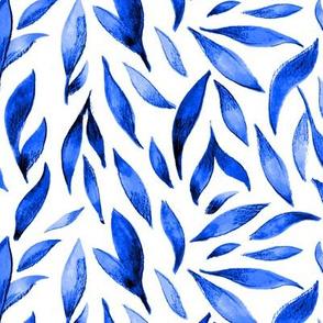 Watercolor Leaves- Royal Blue