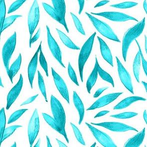 Watercolor Leaves- Teal