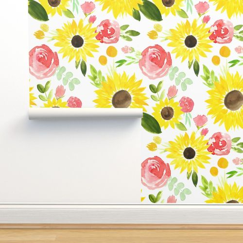 Wallpaper Sunflowers And Roses Watercolor Large