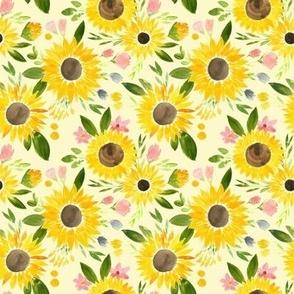 Sunflower Fields on Pale Yellow